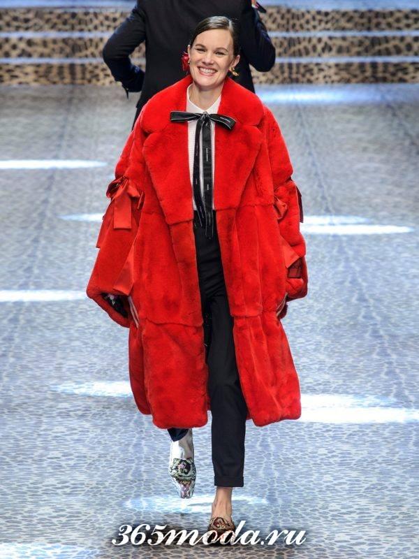 красное пальто оверсайз осень-зима