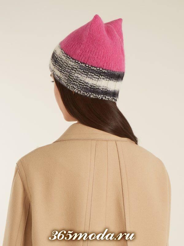 вязаная шапка с отворотом осень-зима