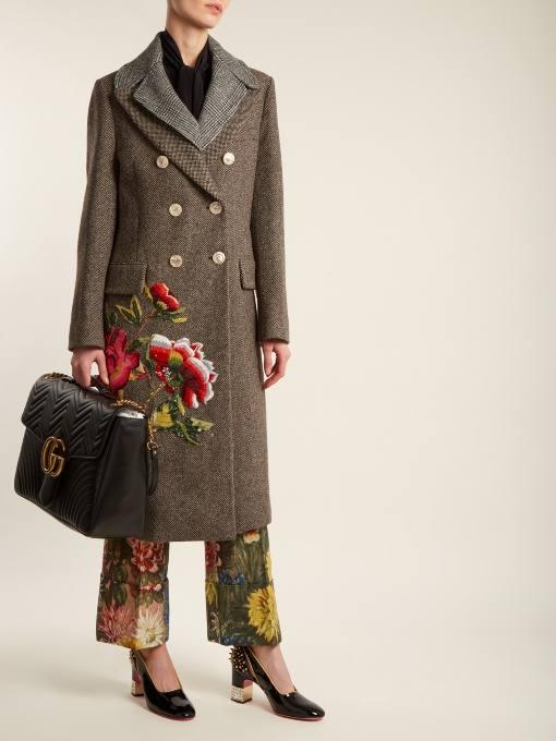 двубортное пальто с вышивкой осень-зима
