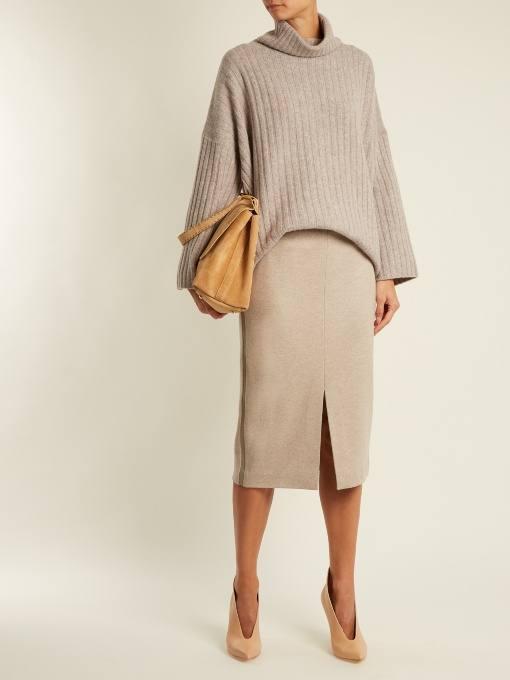 бежевая юбка карандаш с разрезом осень-зима