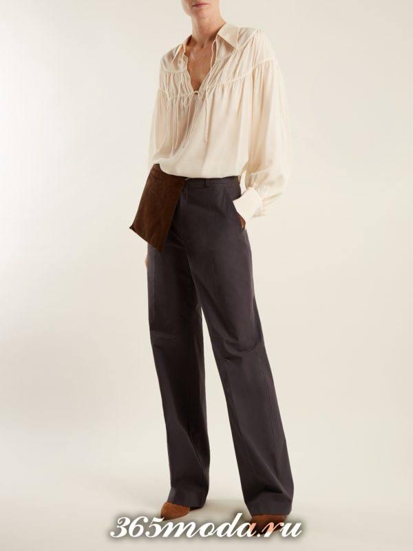 прямые серые брюки осень-зима