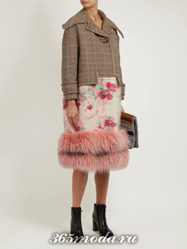 комбинированное пальто с мехом осень-зима
