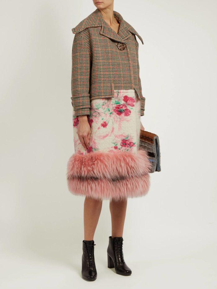 Модные тренды осень-зима 2019-2020: комбинированное пальто с мехом