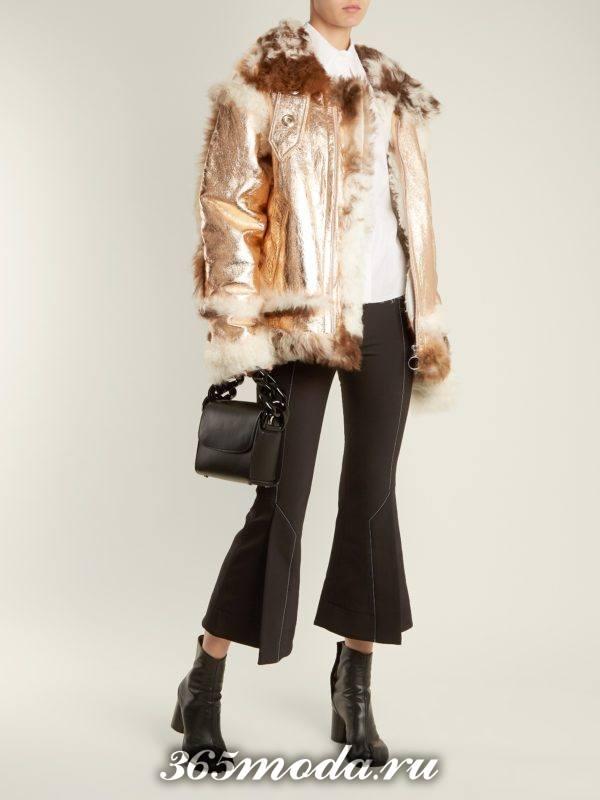 золотистая кожаная куртка с мехом осень-зима