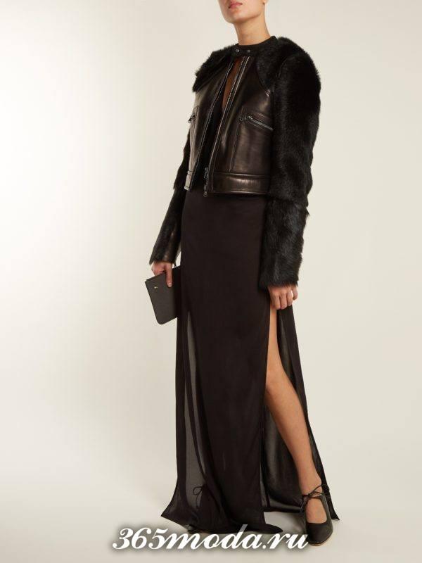 кожаная куртка с меховыми рукавами осень-зима