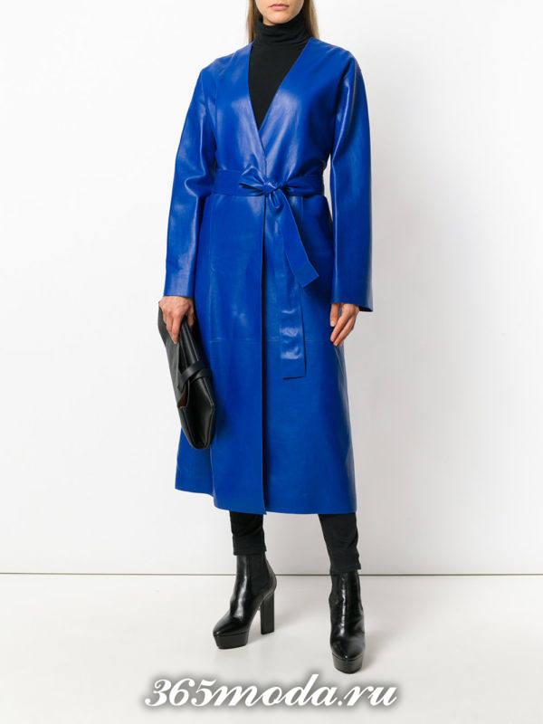 кожаный синй плащ с поясом осень-зима