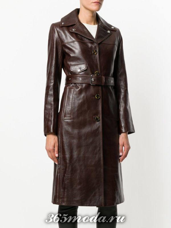 кожаный коричневый плащ с поясом осень-зима