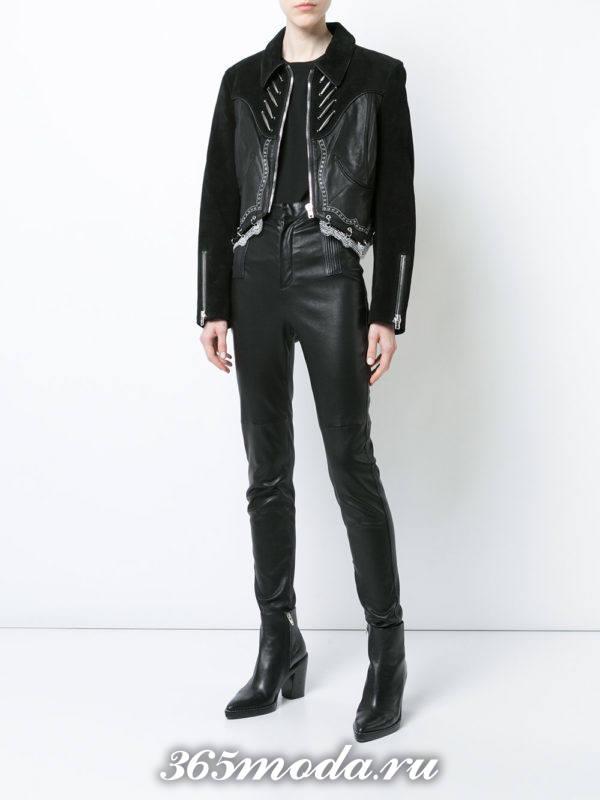 комбинированная кожаная куртка осень-зима