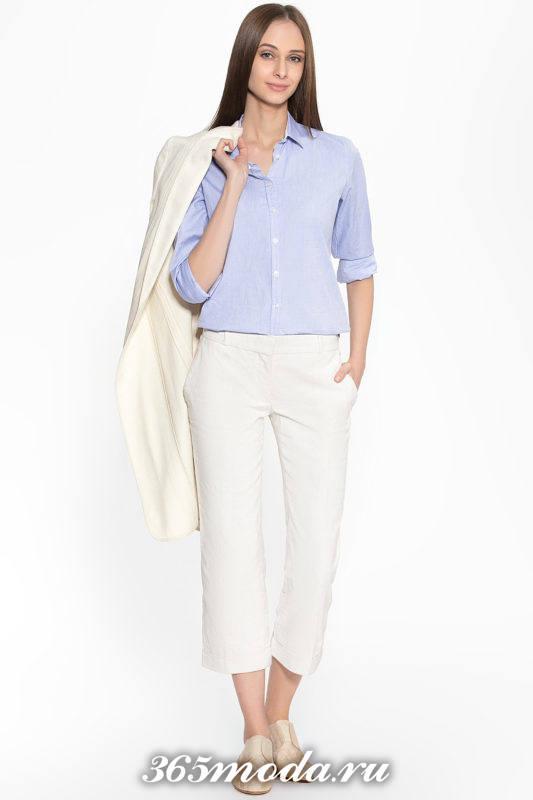 укороченные брюки капри белые