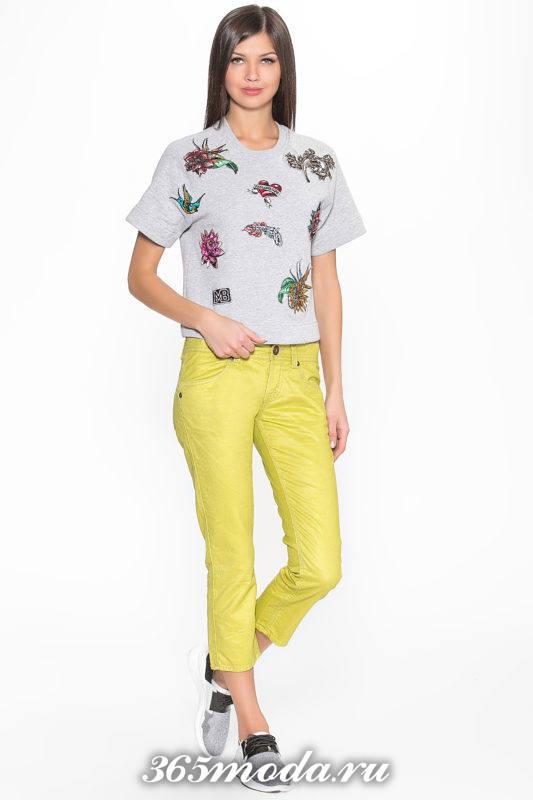 укороченные брюки капри желтые