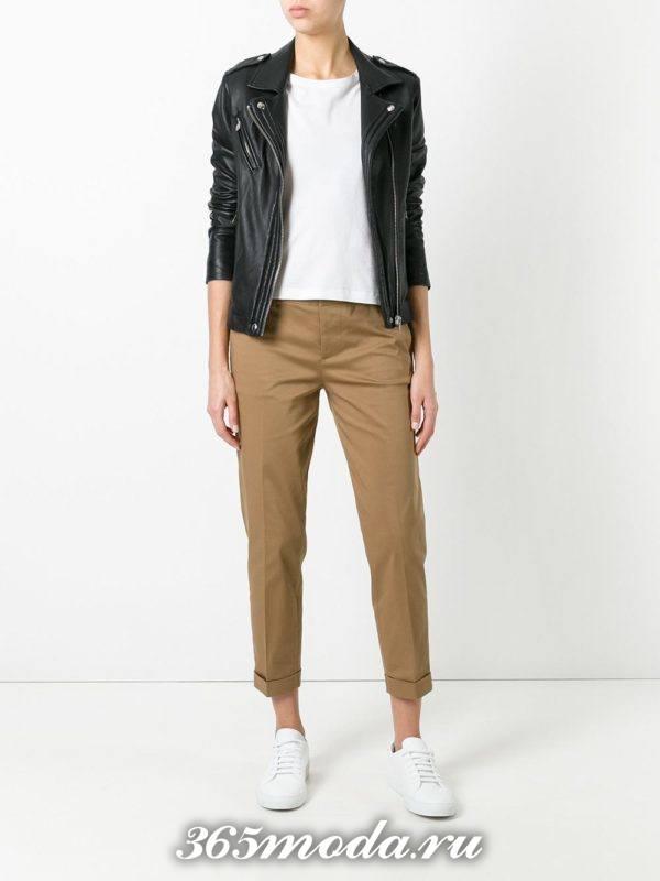 укороченные брюки капри коричневые