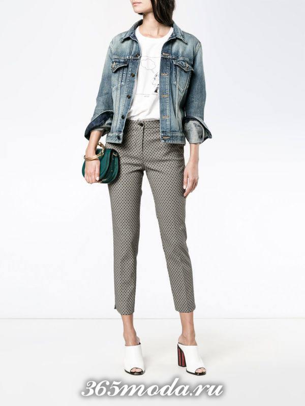 укороченные брюки капри серые
