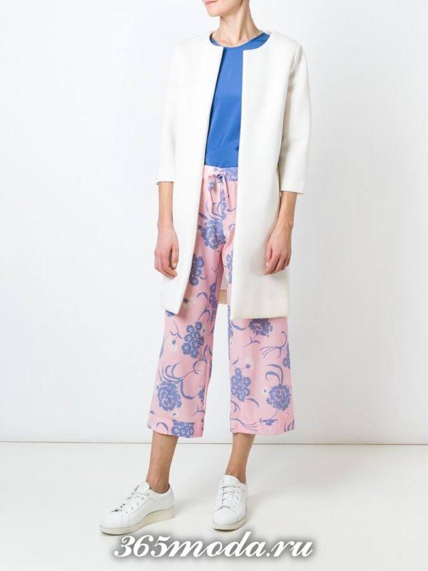 укороченные брюки кюлоты розовые с принтом