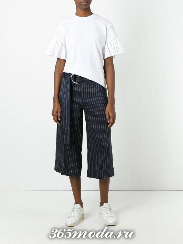 укороченные брюки кюлоты с поясом