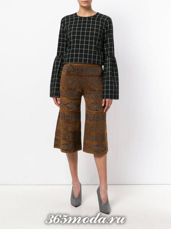 укороченные брюки кюлоты коричневые