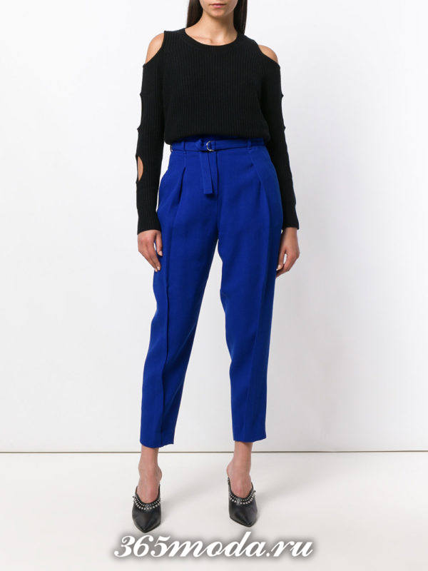 укороченные брюки с завышенной талией синие