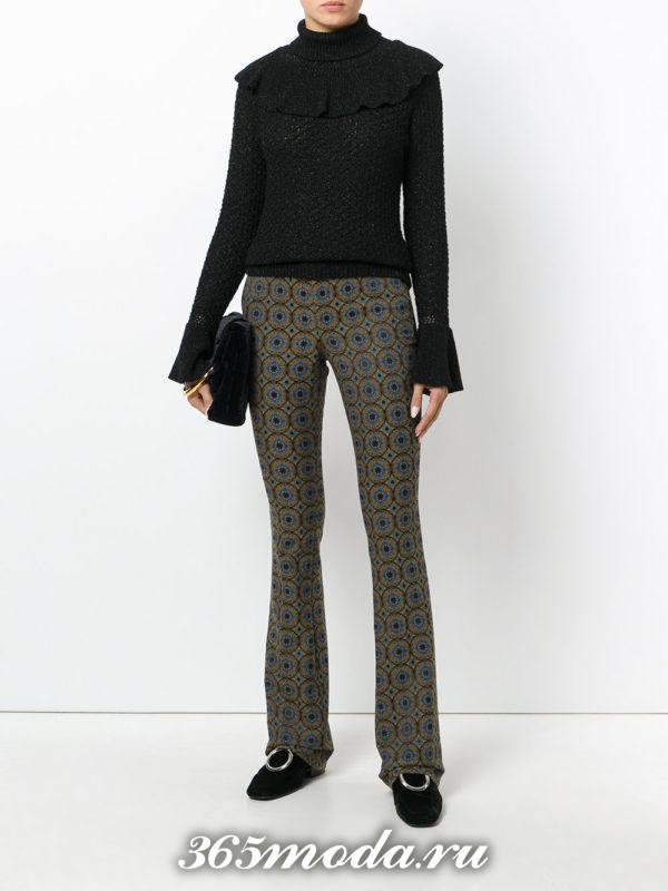 укороченные брюки с завышенной талией с принтом