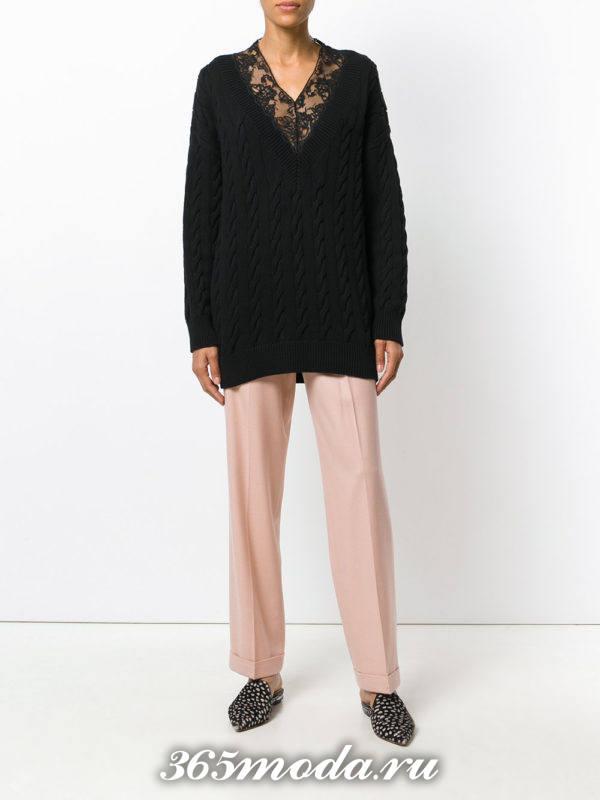 прямые укороченные брюки розовые