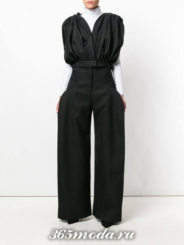 укороченные брюки с завышенной талией широкие