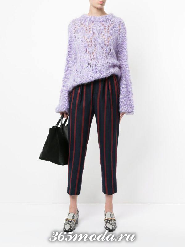 укороченные брюки с завышенной талией полосатые