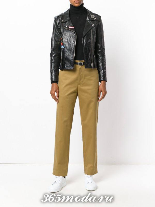 укороченные брюки с завышенной талией прямые