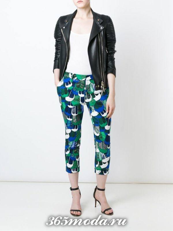 укороченные брюки чинос с принтом