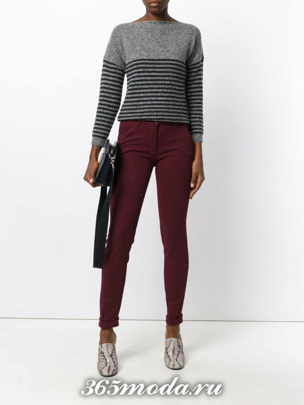 укороченные брюки чинос бордовые