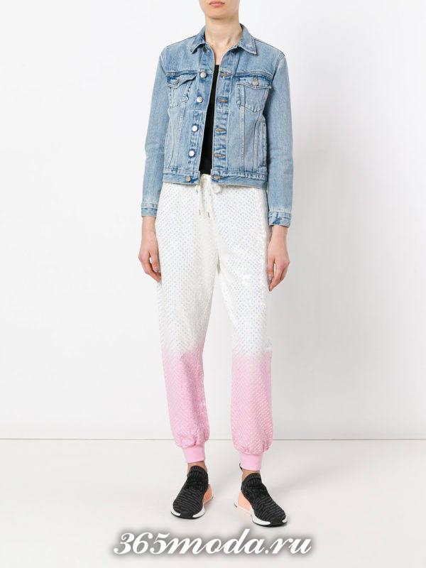 укороченные брюки чинос двухцветные с манжетом
