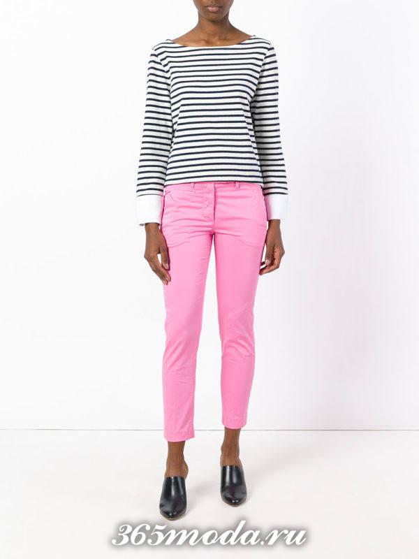 укороченные брюки чинос розовые