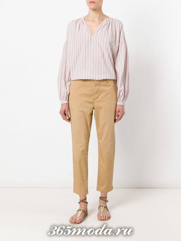 укороченные брюки чинос бежевые