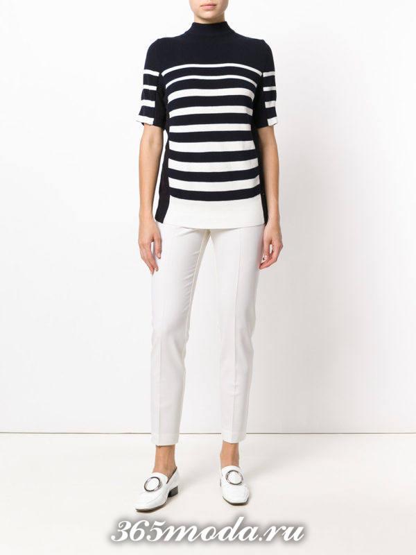 Укороченные брюки дудочки белые