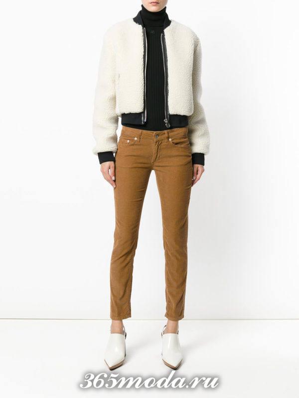 укороченные брюки дудочки коричневые