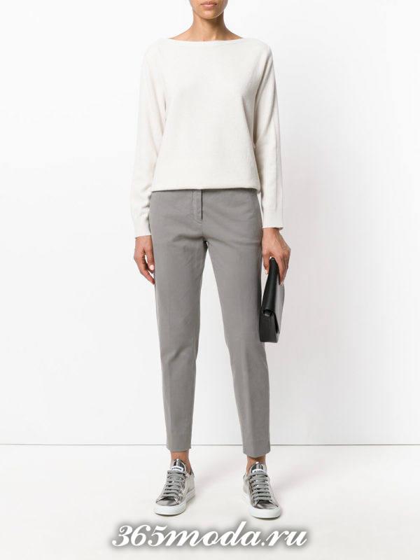 укороченные брюки дудочки серые