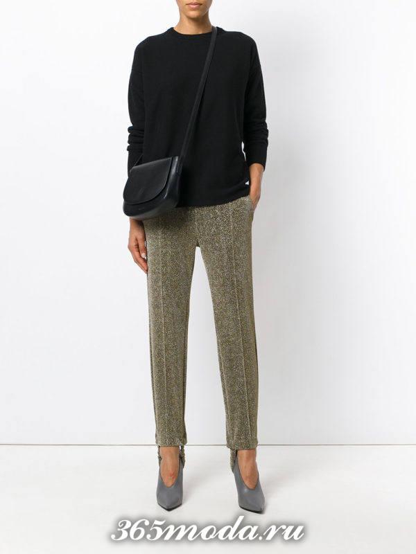 укороченные брюки дудочки блестящие