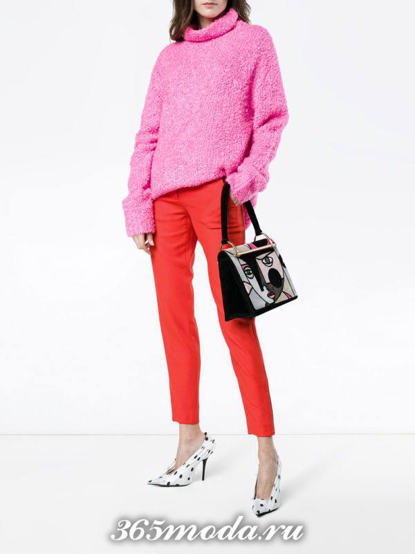 укороченные брюки дудочки красные