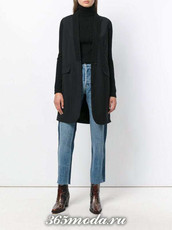 укороченные джинсы бойфренды с лампасами