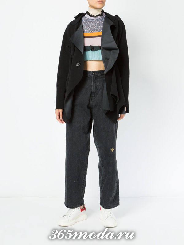 укороченные джинсы бойфренды черные