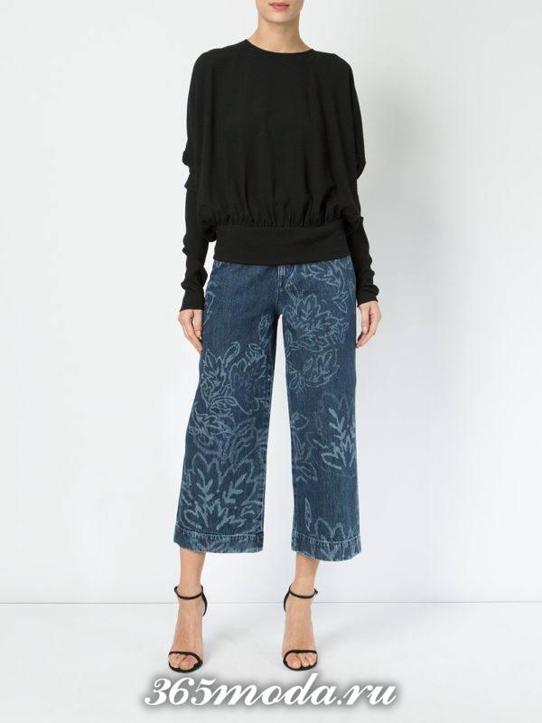 укороченные джинсы кюлоты с принтом