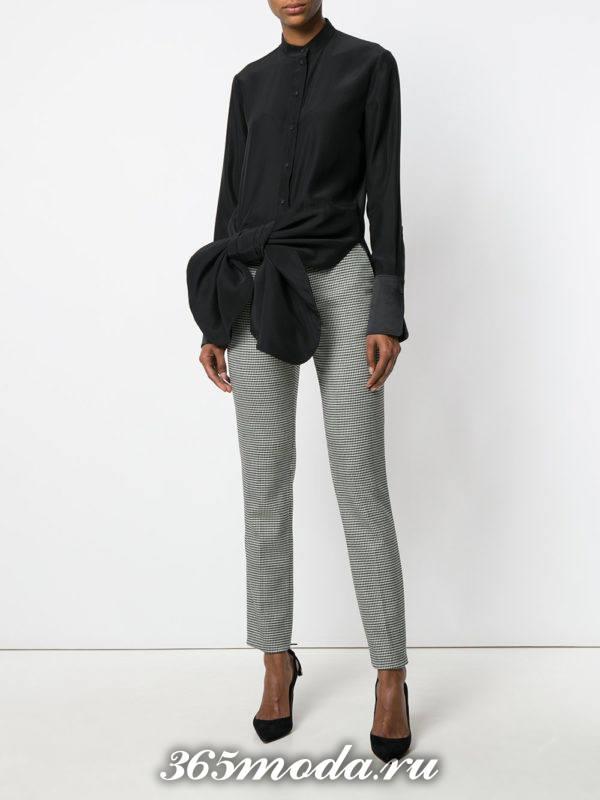 прямые укороченные брюки серые