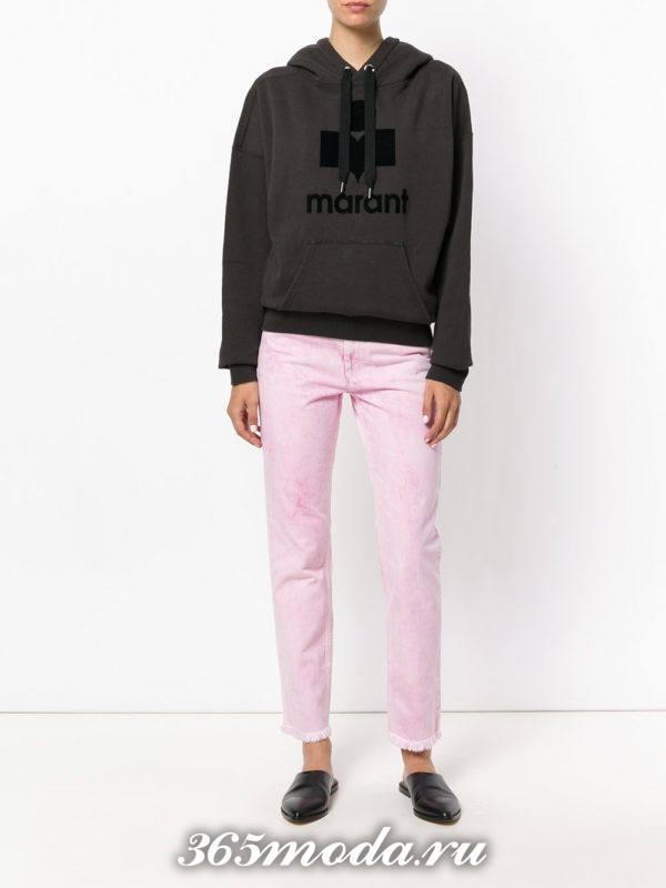 укороченные розовые прямые джинсы