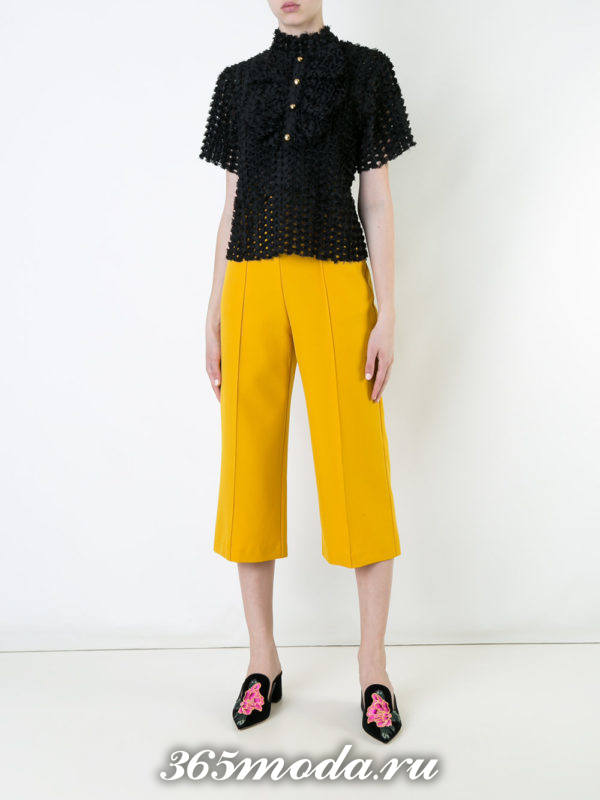 укороченные желтые брюки кюлоты