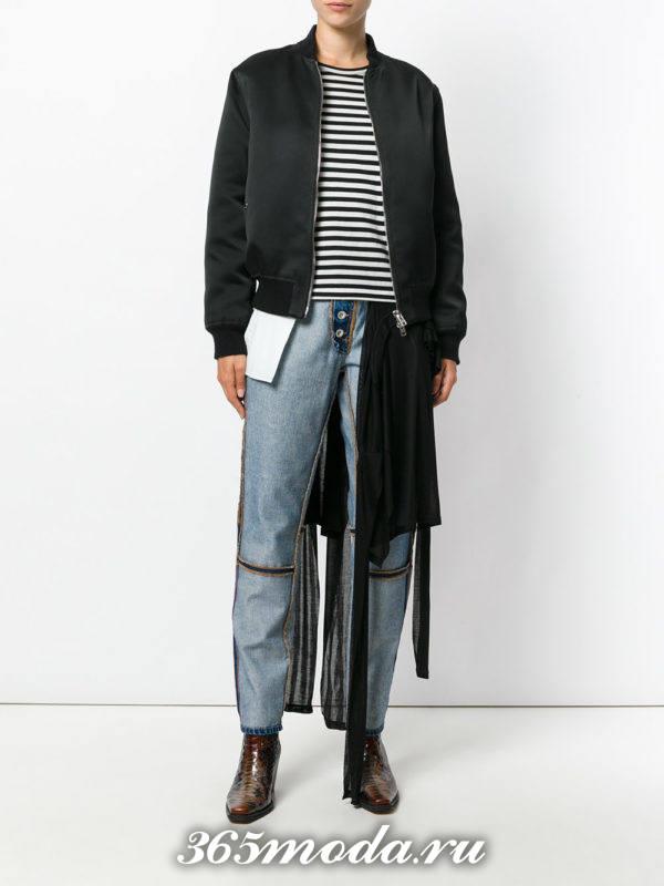 укороченные синие джинсы наизнанку