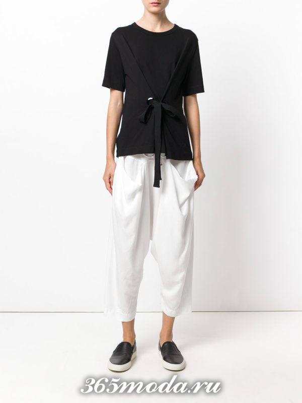 укороченные белые брюки со сборкой