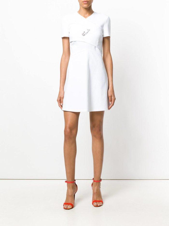 белое короткое платье ампир клеш на выпускной