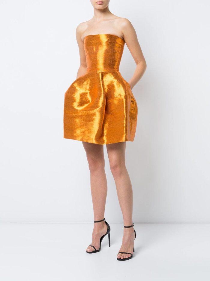 короткие платья на выпускной: желтое пышное с корсетом