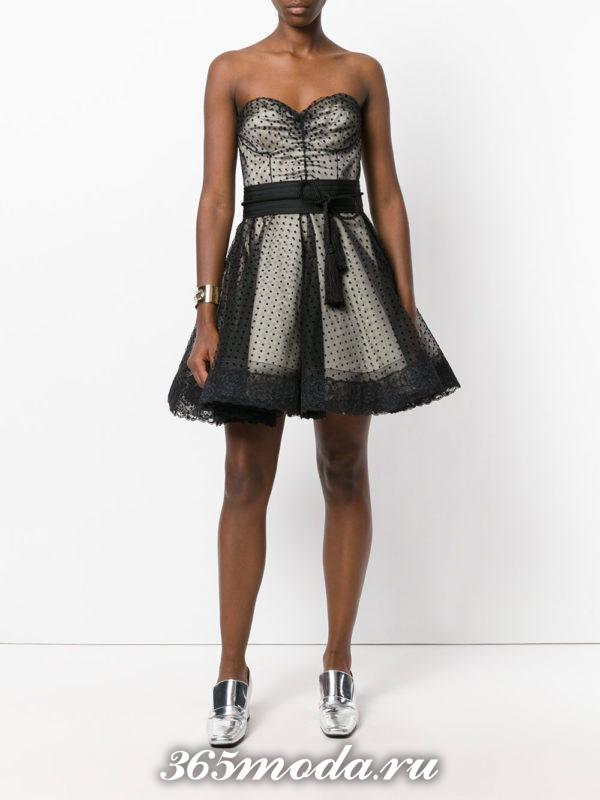 короткое платье с корсетом многослойное на выпускной