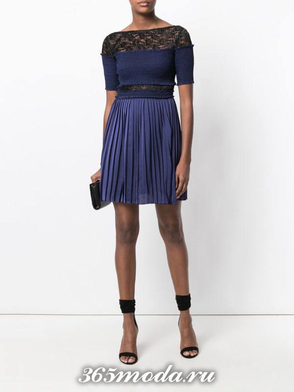 синее короткое платье ампир плиссе на выпускной