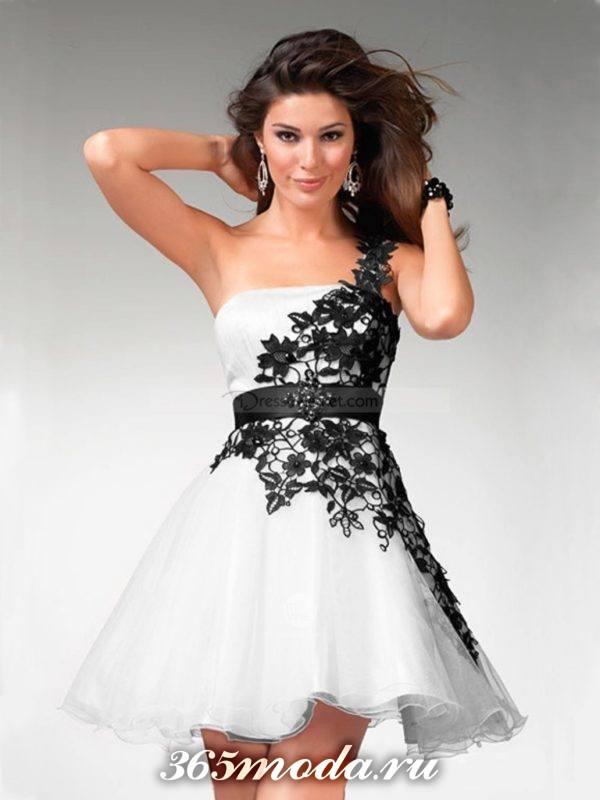 пышное короткое платье с корсетом на выпускной
