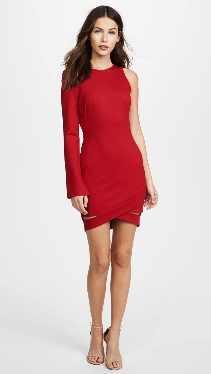 красное асимметричное короткое платье футляр на выпускной