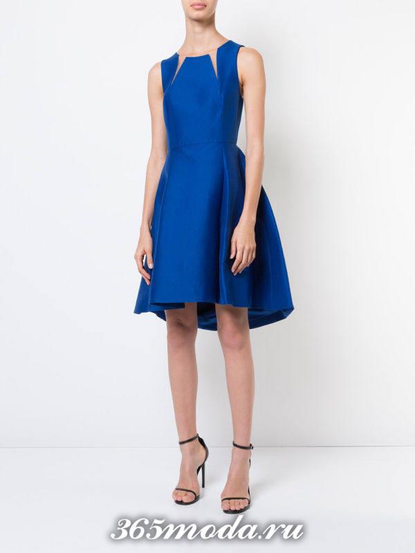синее пышное короткое платье с прозрачными вставками на выпускной